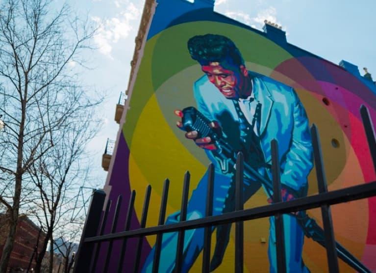 Mural of James Brown in Downtown Cincinnati