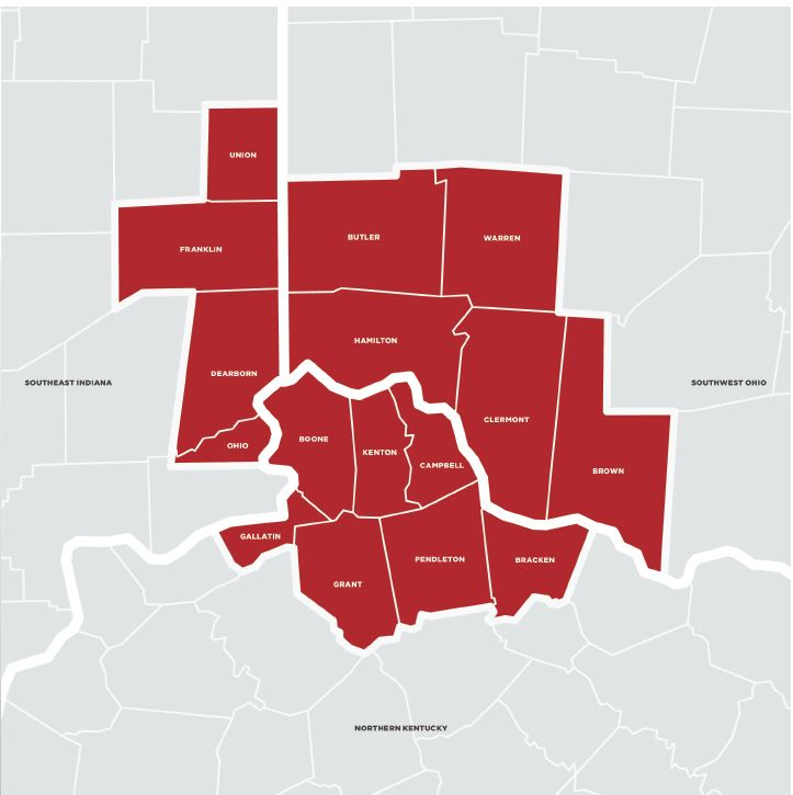 The Cincinnati Region MSA Map